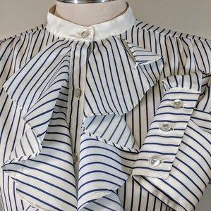 Vintage 70's Off-White Stripe Ruffle Blouse